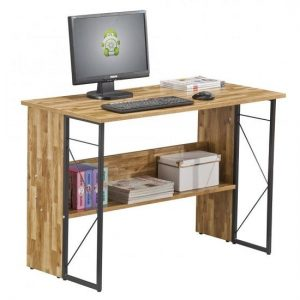 Alameda Computer Desk In Walnut With Grey Steel Frame