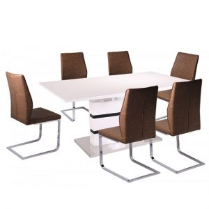 Allesia Gloss Extendable Dining Table In White Black 6 Chairs