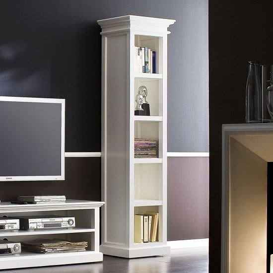 Allthorp Solid Wood Bookcase In White With 4 Shelf