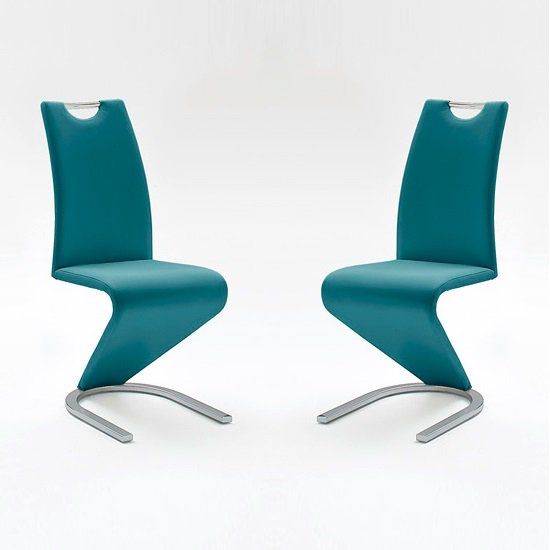 Amado Dining Chair In Petrol Faux Leather In A Pair