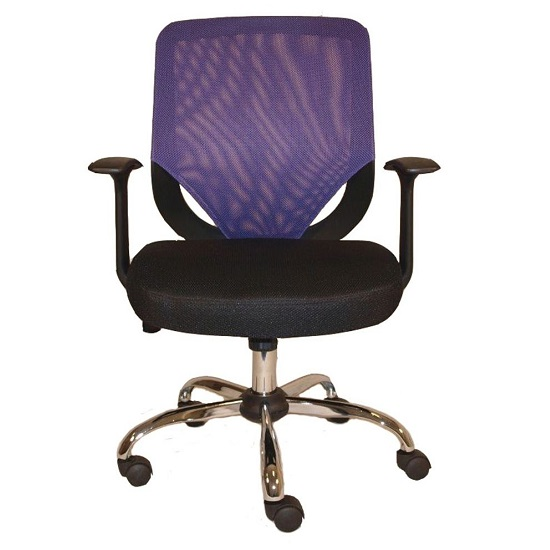 Atlanta Home Office Chair In Black And Purple With Fabric Seat