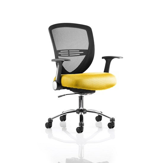 Avram Home Office Chair In Yellow With Castors