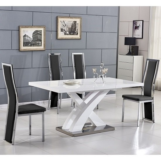Axara Extending Small Dining Set In White Gloss 4 Black Chairs