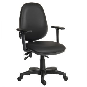 Barton Home Office Chair In Black With Rollers