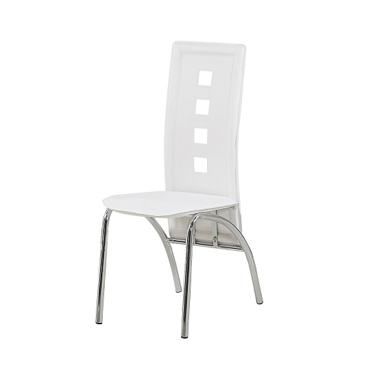 Bellini Dining Chairs In White Faux Leather With Chrome Legs