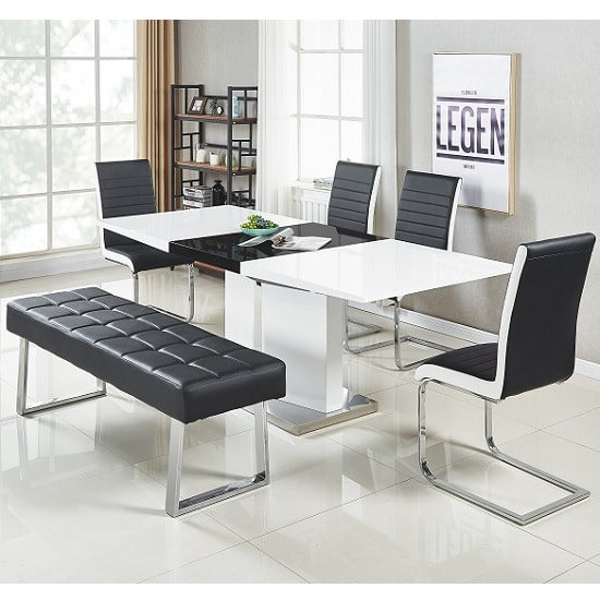 Belmonte Large Extendable Dining Set With Bench In White Black