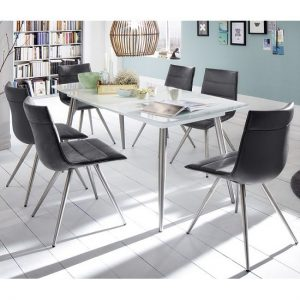 Belton Glass Dining Table In White With 6 Emily Black Chairs