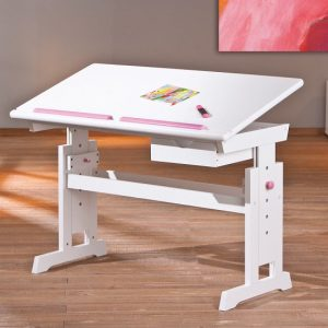 Berito Children Computer Desk In White With Pink And Blue Alter