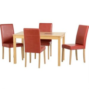 Bexford Wooden Dining Set And 4 Red G3 Chairs