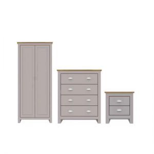 Blenheim Wooden Bedroom Furniture Set In Grey And Oak Finish