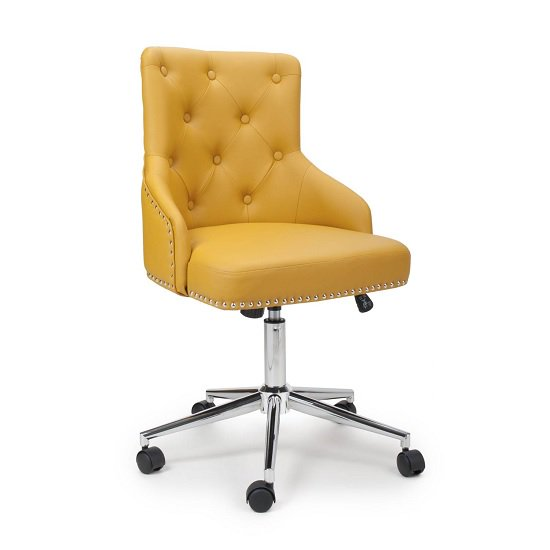 Calico Office Chair In Yellow Leather Match With Chrome Base
