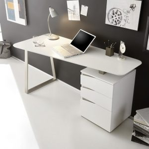 Camelia Wooden Computer Desk Rectangular In Matt White
