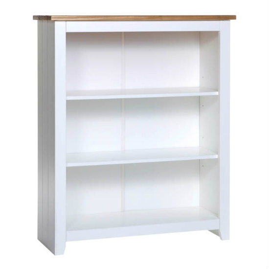 Caprio Low Bookcase In White With Waxed Pine With 2 Shelf