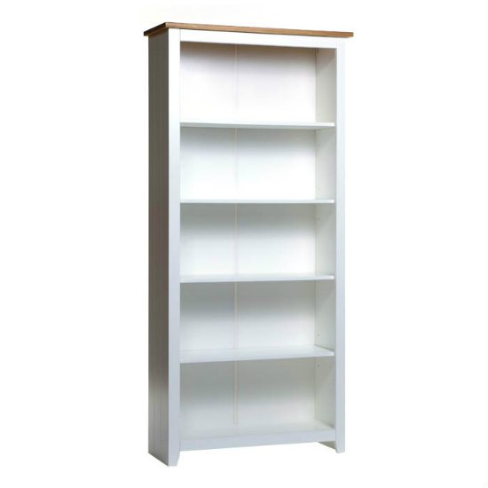 Caprio Tall Bookcase In White With Waxed Pine With 4 Shelf