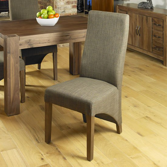 Carabia Dining Chair In Hazelnut With Walnut Legs in A Pair