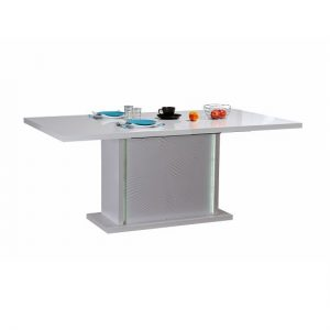 Carmen Extendable Dining Table In White Gloss With LED Lighting