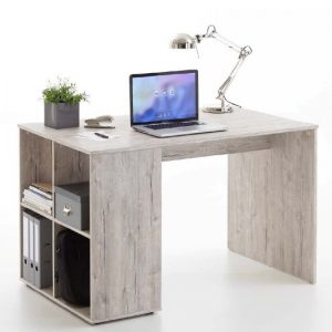 Caroline Wooden Computer Desk In Sand Oak With 4 Compartments