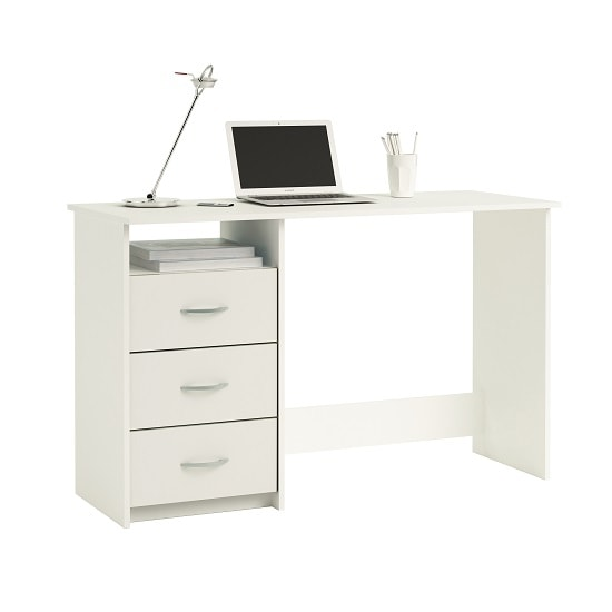 Caspa Computer Desk Rectangular In Pearl White With 3 Drawers