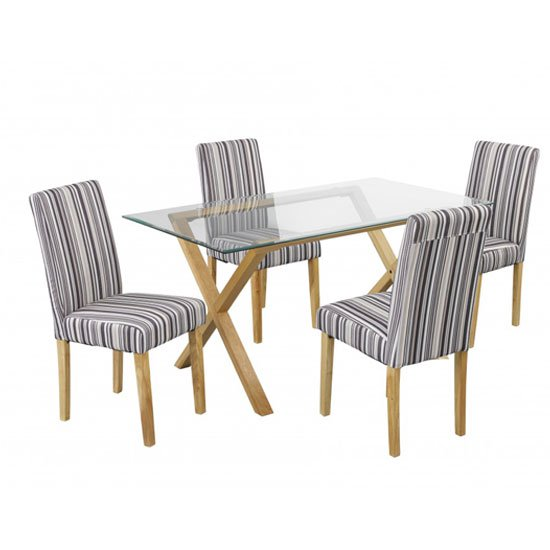Cassio Glass Dining Table And 4 Lorenzo Dining Chairs