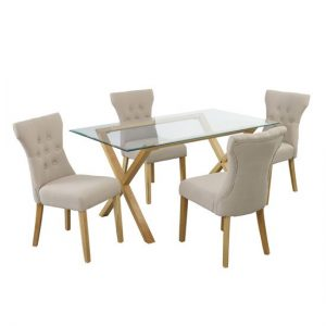 Cassio Glass Dining Table And 4 Naples Dining Chairs