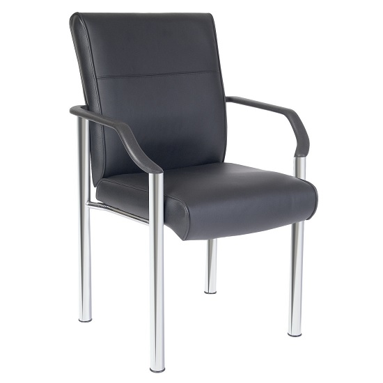 Cedar Home Office Chair In Black Faux Leather With Chrome Legs