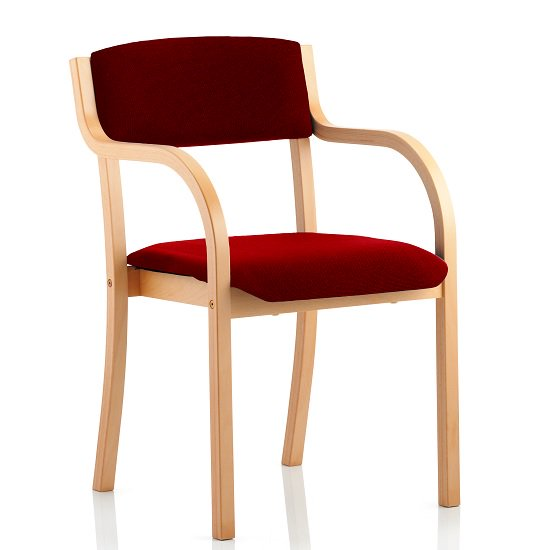Charles Office Chair In Chilli And Wooden Frame With Arms