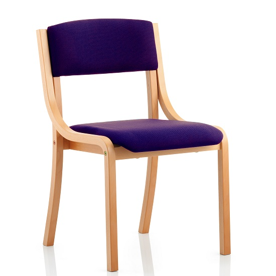 Charles Office Chair In Purple And Wooden Frame