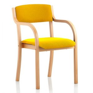 Charles Office Chair In Yellow And Wooden Frame With Arms