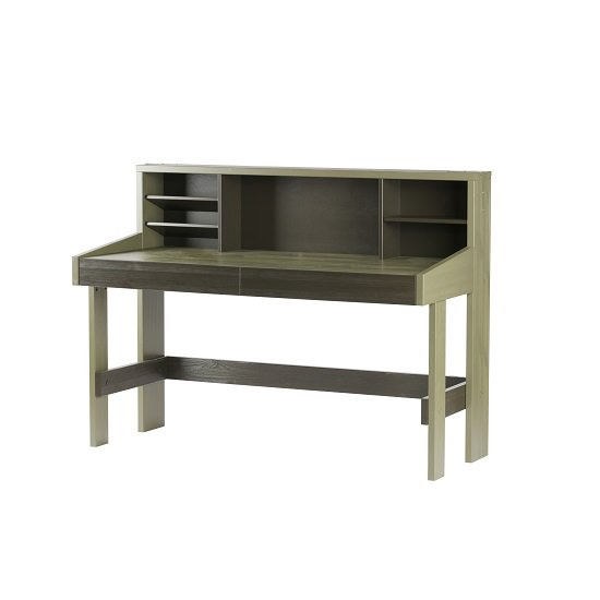 Charlotte Computer Desk In Forrest Charcoal With Shelves
