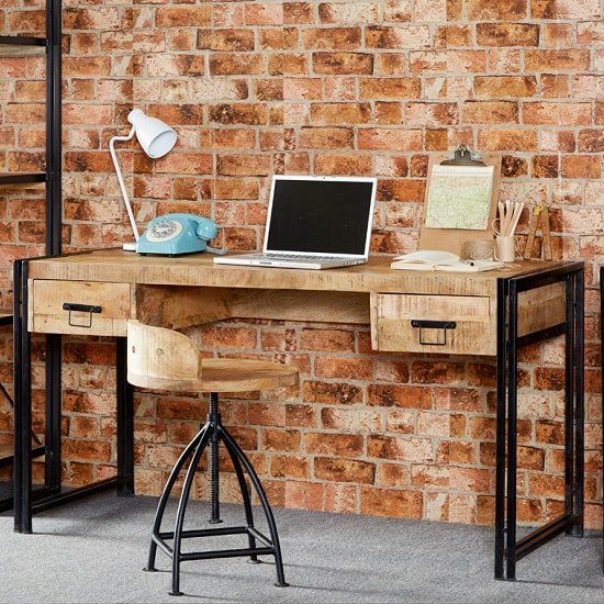 Clio Wooden Computer Desk In Reclaimed Wood And Metal Frame