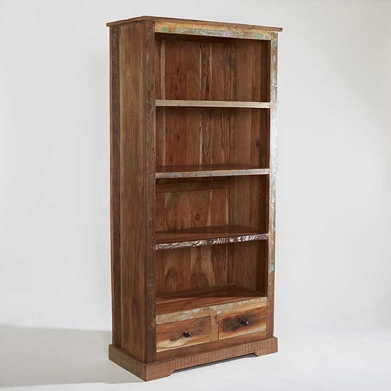 Coburg Wooden Bookcase Large In Reclaimed Wood