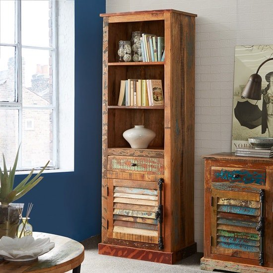 Coburg Wooden Bookcase Narrow In Reclaimed Wood