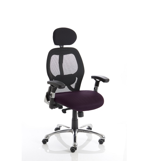 Coleen Home Office Chair In Purple With Castors
