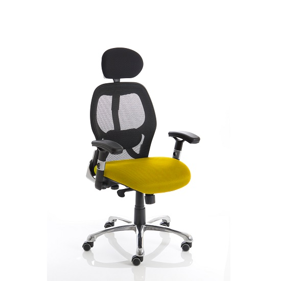 Coleen Home Office Chair In Yellow With Castors