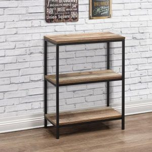 Coruna Wooden Bookcase Small In Rustic And Metal Frame