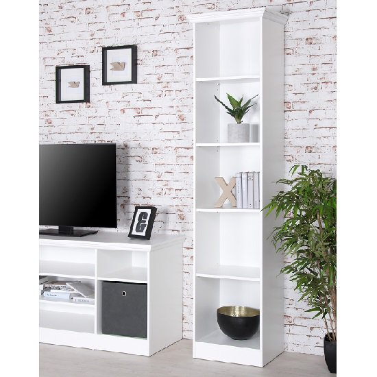 Country Tall Narrow Bookcase In White With 5 Compartments