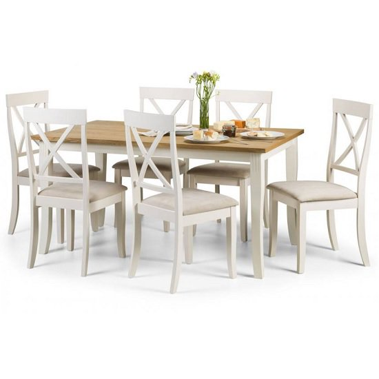 Cromley Dining Table Rectangular In Oak With 6 Dining Chairs