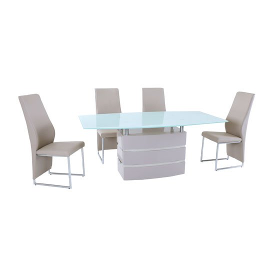 Crystal White Glass Top Dining Table With 6 Crystal Dining Chair