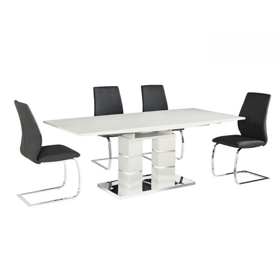 Cuban 6 Seater Extendable Dining Table Set In White High Gloss