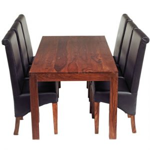 Cube Sheesham Dining Table Set with 6 Leather Chairs