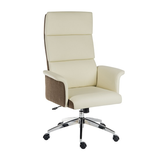 Curzon Executive Home Office Chair In Cream PU