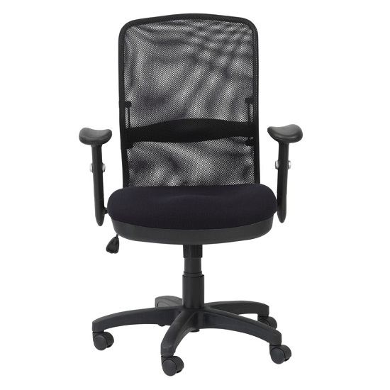 Dakota Home & Office Chair In Black With Fabric Seat