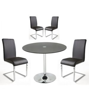 Dante Glass Dining Table In Black With 4 Lotte Chairs