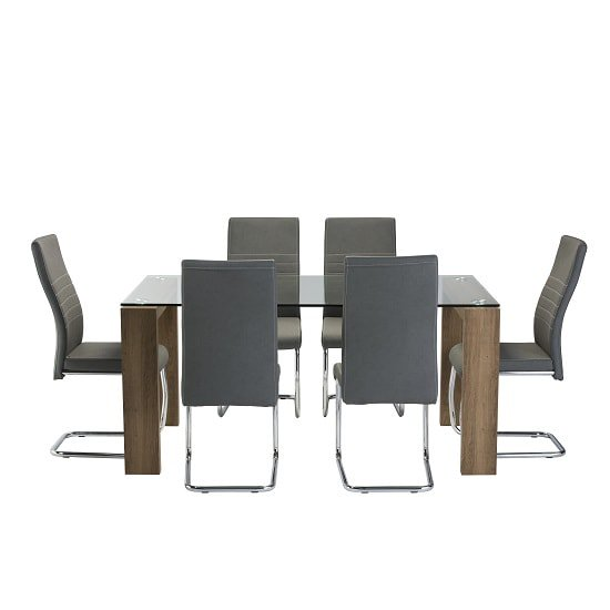 Devan Glass Dining Table Set In Clear With 6 Grey Chairs