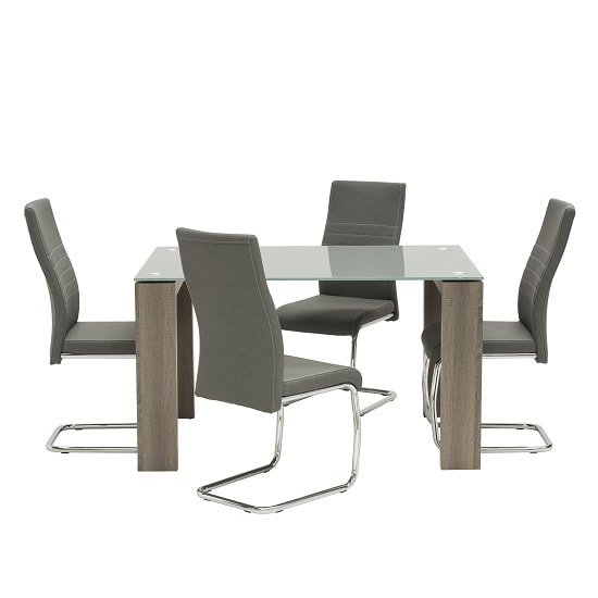 Devan Glass Dining Table Small In Grey With 4 Dining Chairs