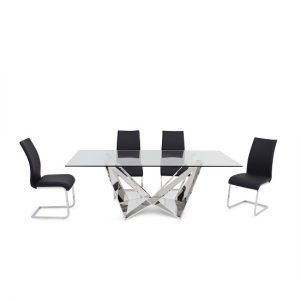 Diego Glass Dining Table In Clear With 6 Eden Black PU Chairs