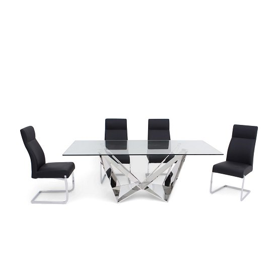 Diego Glass Dining Table In Clear With 6 Swiss Black PU Chairs