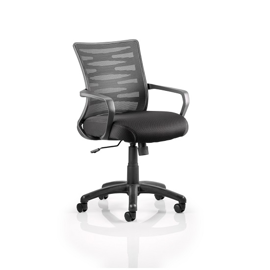 Eclipse Home Office Chair In Black With Castors