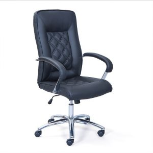 Elessia Home Office Chair In Black Faux Leather With Chrome Base