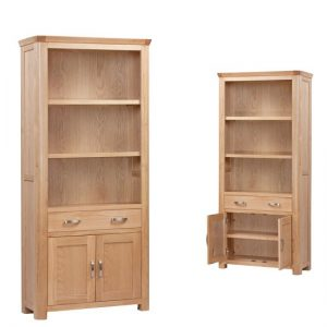 Empire Wooden High Bookcase With 2 Doors And 2 Drawers